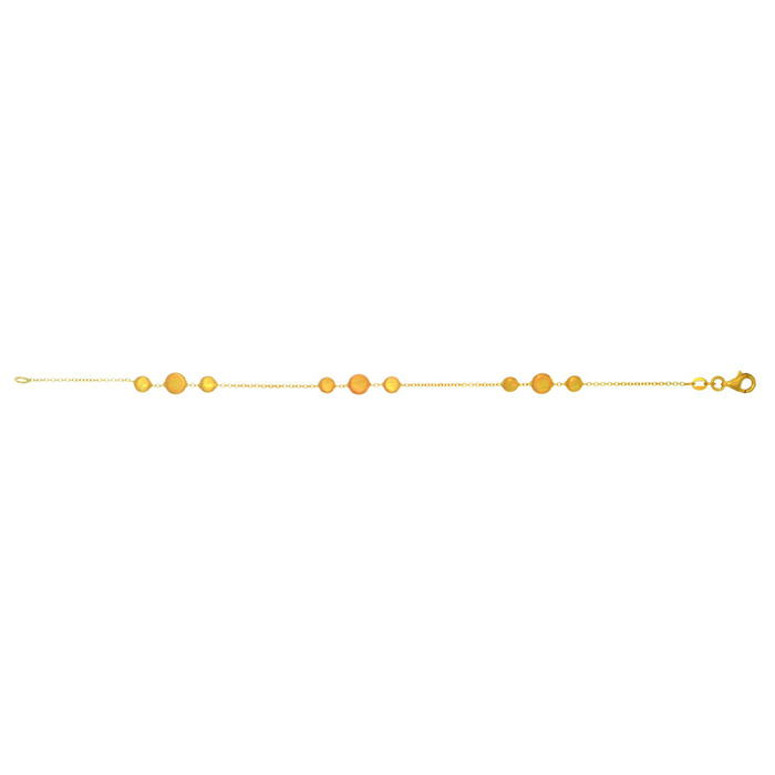 14K Yellow Gold (3.4 g) 1.15mm 7.25 Inch Shiny & Satin Finish Pebble Chain Bracelet by SuperJeweler