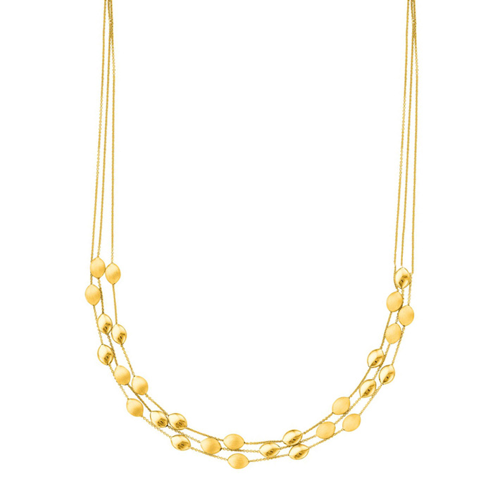 14K Yellow Gold (12.4 g) 17 Inch Three Strand Shiny & Satin Finis