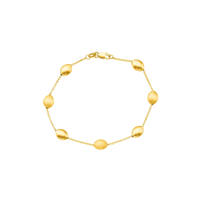 14K Yellow Gold (3.1 g) 7.25 Inch Shiny & Satin Finish Pebble Chain Bracelet by SuperJeweler
