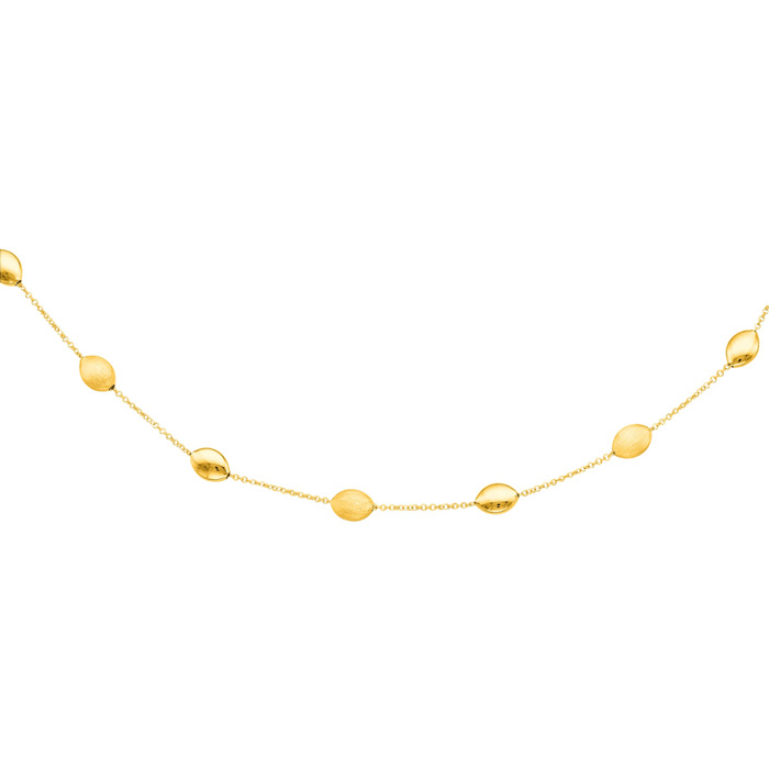 14K Yellow Gold (3.7 g) 17 Inch Shiny & Satin Finish Pebble Chain