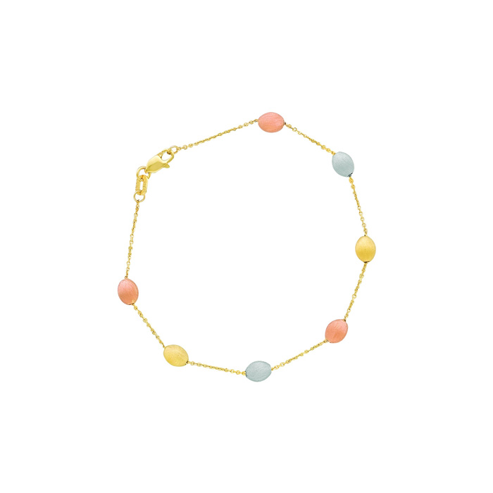 14K Yellow, White & Rose Gold (2.2 g) 7.25 Inch Tri-Color Pebble & Cable Chain Bracelet by SuperJeweler