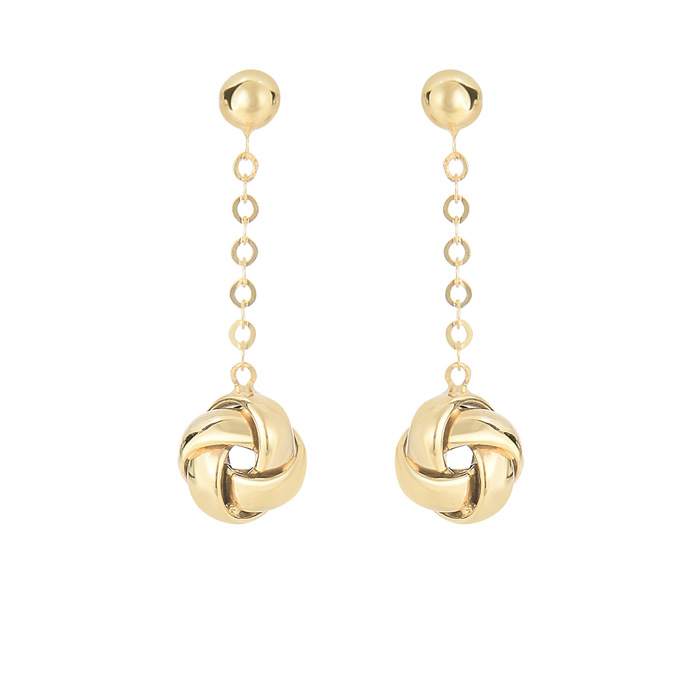 14K Yellow Gold (1.9 g) 1 inch Shiny Hanging Loveknot Drop Earrin