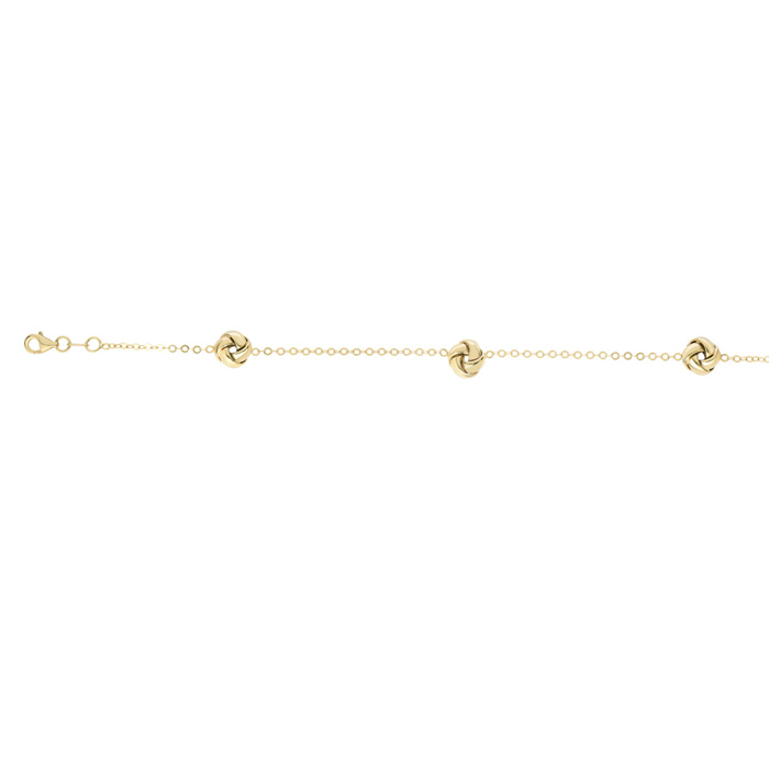14K Yellow Gold (2.5 g) 7.25 Inch Shiny Loveknot Chain Bracelet b