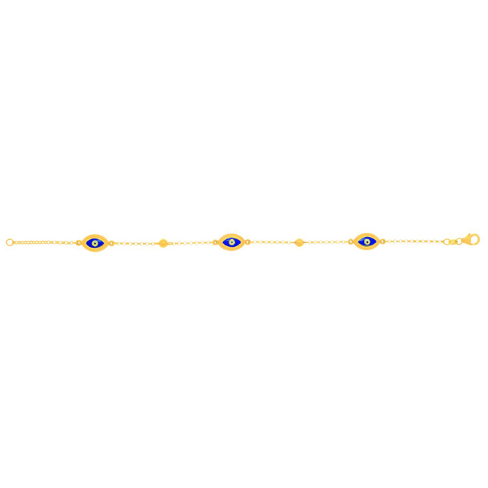 14K Yellow Gold (2.7 g) 7.5 Inch Blue Evil Eye Charm Chain Bracel