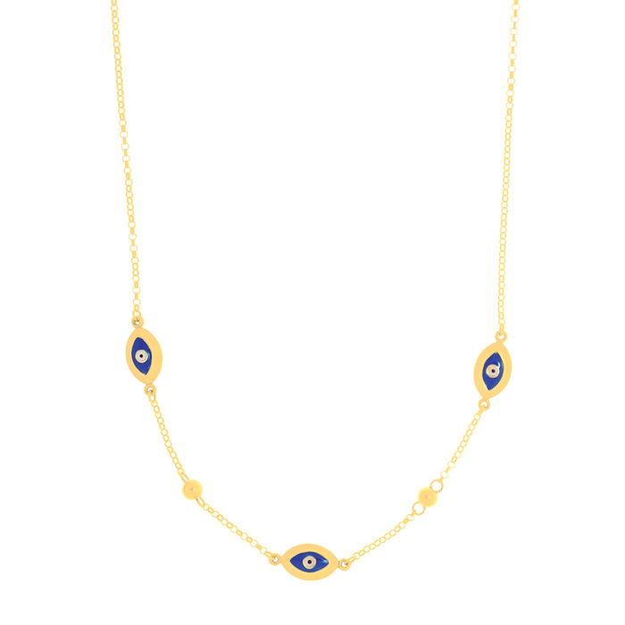 14K Yellow Gold (3.7 g) 18 Inch Blue Evil Eye Charm Chain Necklac