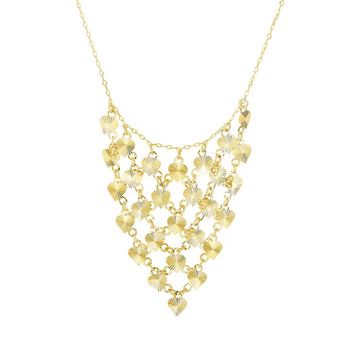 14K Yellow Gold (2.4 g) 0.88mm 17 Inch Diamond-Cut Hearts Triangl