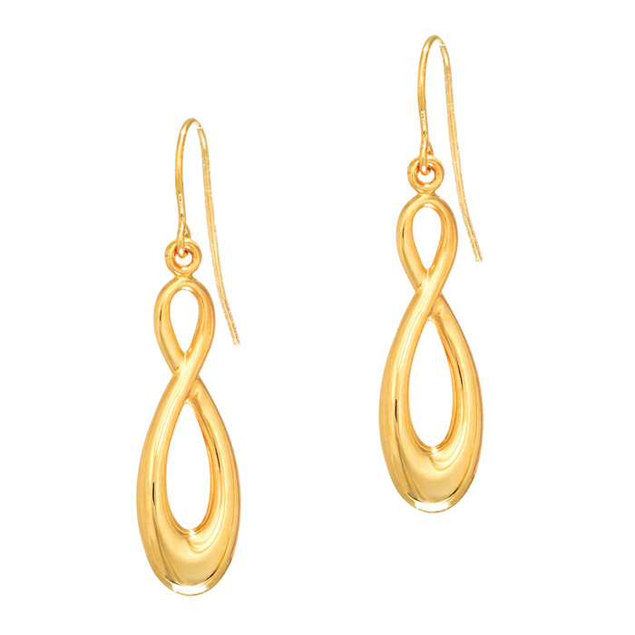 14K Yellow Gold (1.2 g) 1.25 Inch Shiny Infinity Drop Earrings by
