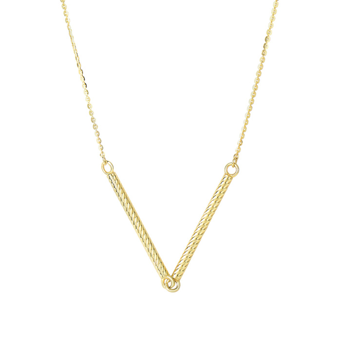 14K Yellow Gold (4 g) 25mm 18 Inch Double Textured Sideways Cylinder Chain Necklace by SuperJeweler