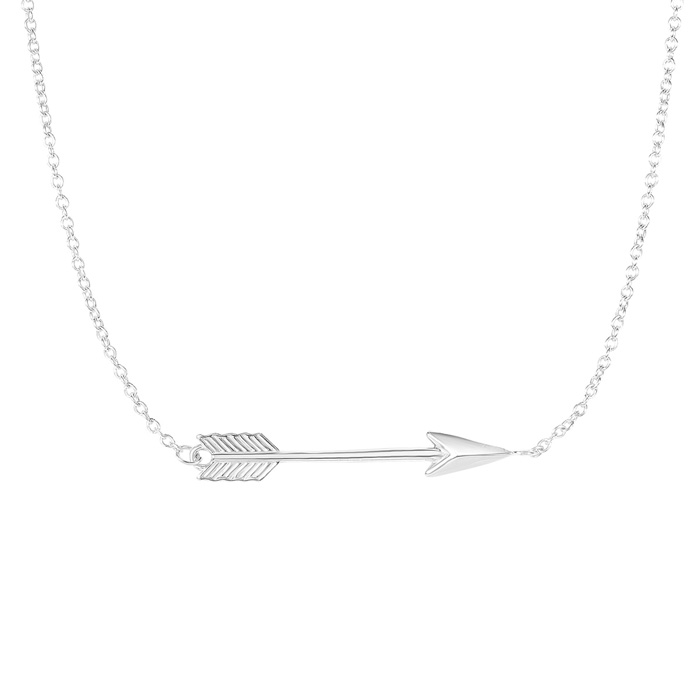 14K White Gold (2.2 g) 30mm 18 Inch Sideways Arrow Chain Necklace