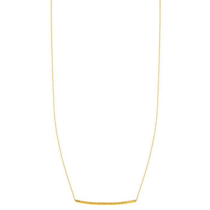 14K Yellow Gold (1.8 g) 17 Inch Diamond-Cut Curved Bar Chain Neck