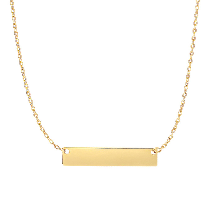 14K Yellow Gold (2.4 g) 4.9mm 18 Inch Horizontal Bar Chain Neckla