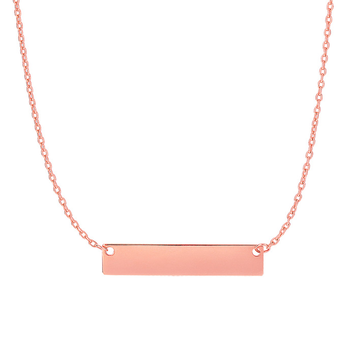 14K Rose Gold (2.3 g) 4.9mm 18 Inch Horizontal Bar Chain Necklace