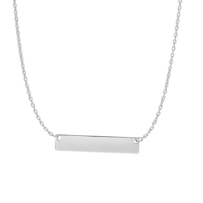 14K White Gold (2.3 g) 4.9mm 18 Inch Horizontal Bar Chain Necklac