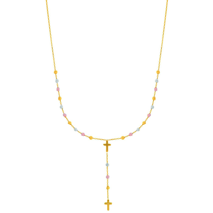 14 Karat Yellow, White & Rose Gold 17 inch Beaded Lariat Rosary & Cross Necklace ShopFest Money Saver