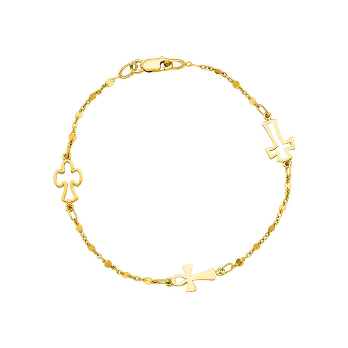 14K Yellow Gold (2.5 g) 7 inch Beaded Cross Chain Bracelet by SuperJeweler