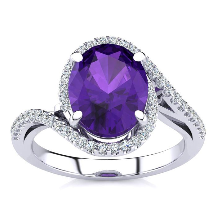 2 1/2 Carat Oval Shape Amethyst and Halo Diamond Ring In 14 Karat White Gold