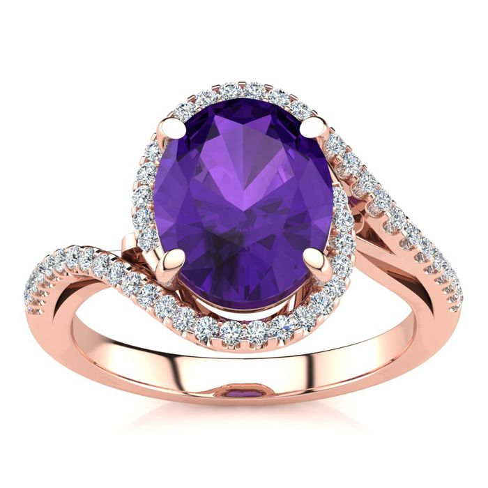 2.5 Carat Oval Shape Amethyst & Halo Diamond Ring in 14K Rose Gol