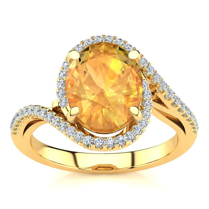 2.5 Carat Oval Shape Citrine & Halo Diamond Ring in 14K Yellow Go