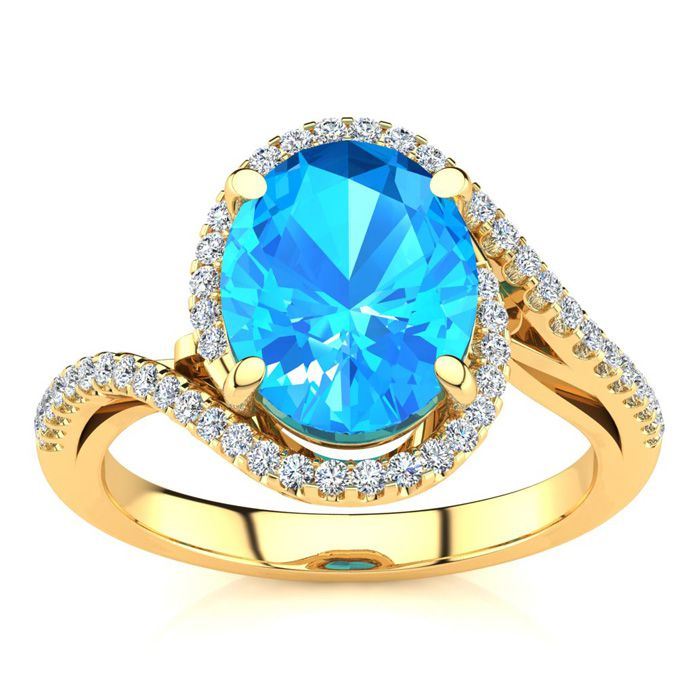 3 1/2 Carat Oval Shape Blue Topaz & Halo Diamond Ring in 14K Yellow Gold (4.7 g), I/J by SuperJeweler
