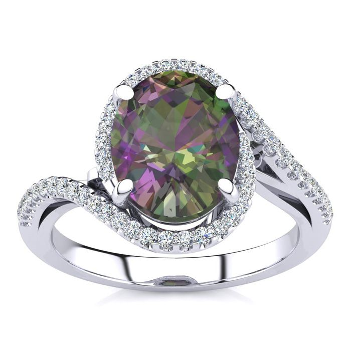 2.5 Carat Oval Shape Mystic Topaz & Halo Diamond Ring in 14K White Gold (4.7 g), I/J by SuperJeweler