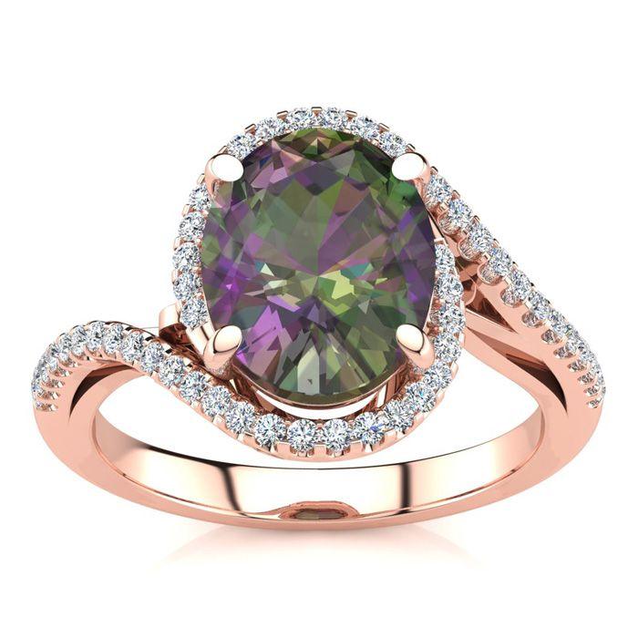 2.5 Carat Oval Shape Mystic Topaz & Halo Diamond Ring in 14K Rose