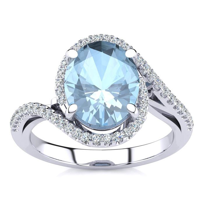 2 1/2 Carat Oval Shape Aquamarine and Halo Diamond Ring In 14 Karat White Gold