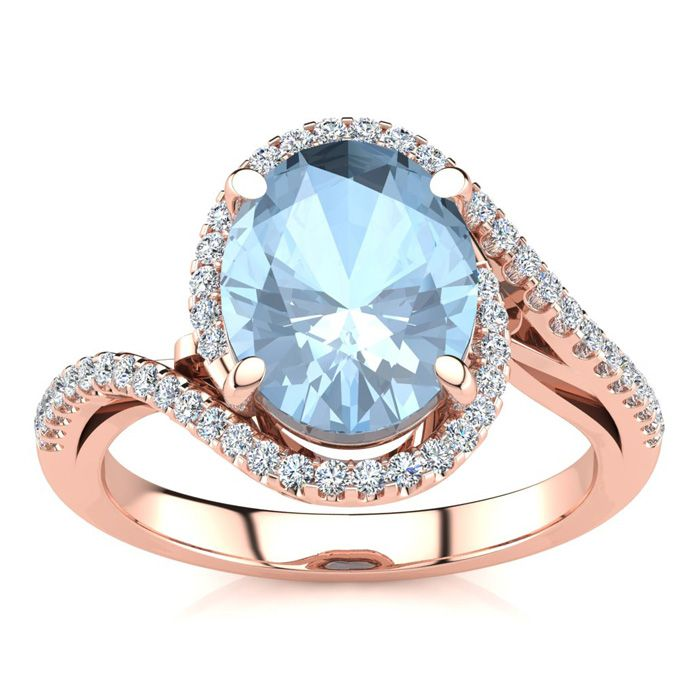 2.5 Carat Oval Shape Aquamarine & Halo Diamond Ring in 14K Rose G
