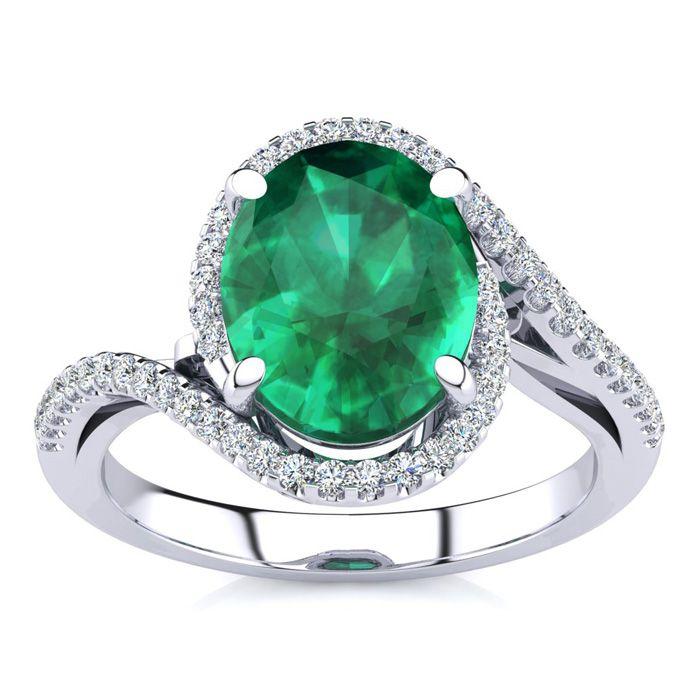 2.5 Carat Oval Shape Emerald Cut & Halo Diamond Ring in 14K White Gold (4.7 g), I/J by SuperJeweler