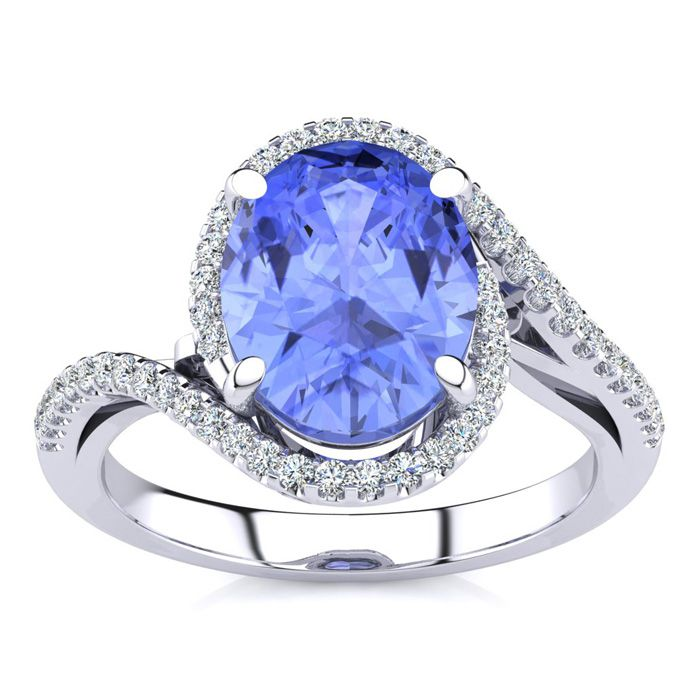 2 3/4 Carat Oval Shape Tanzanite and Halo Diamond Ring In 14 Karat White Gold