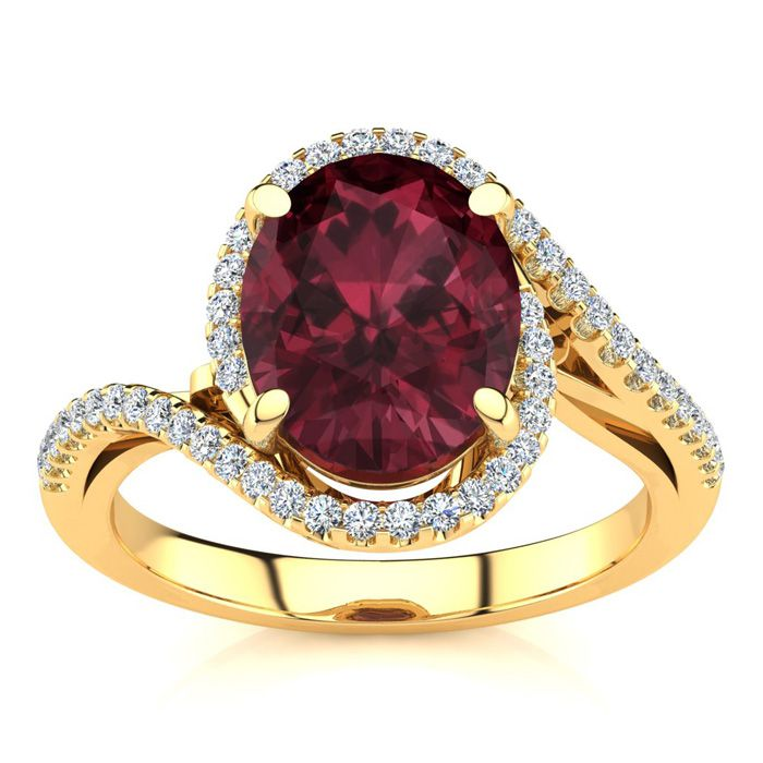 3 1/3 Carat Oval Shape Garnet & Halo Diamond Ring in 14K Yellow G