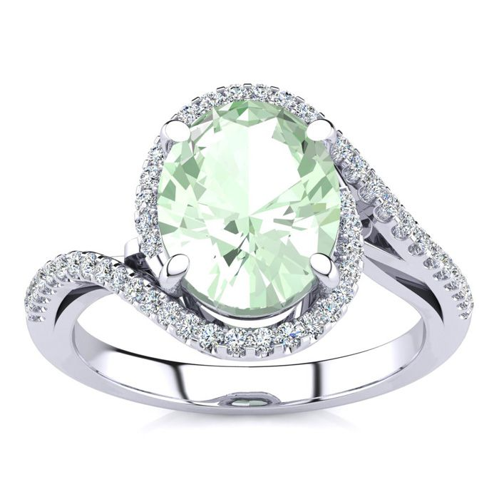 2.5 Carat Oval Shape Green Amethyst & Halo Diamond Ring in 14K Wh