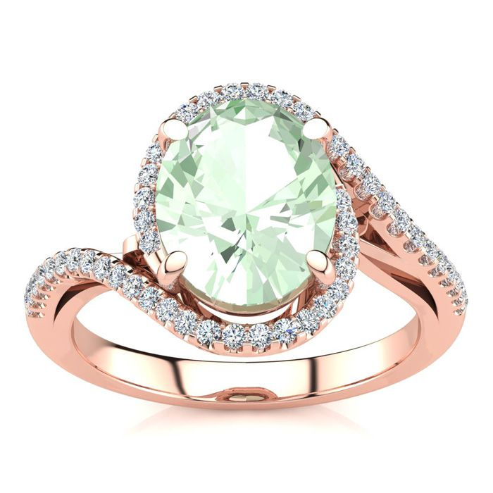 2.5 Carat Oval Shape Green Amethyst & Halo Diamond Ring in 14K Rose Gold (4.7 g), I/J by SuperJeweler