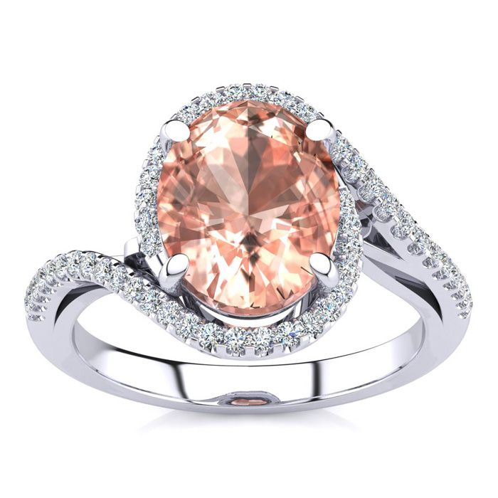 2.5 Carat Oval Shape Morganite & Halo Diamond Ring in 14K White G