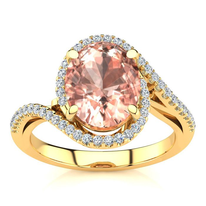2.5 Carat Oval Shape Morganite & Halo Diamond Ring in 14K Yellow