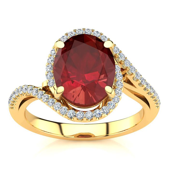 3 1/3 Carat Oval Shape Ruby & Halo Diamond Ring in 14K Yellow Gol