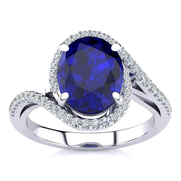3 1/3 Carat Oval Shape Sapphire & Halo Diamond Ring in 14K White