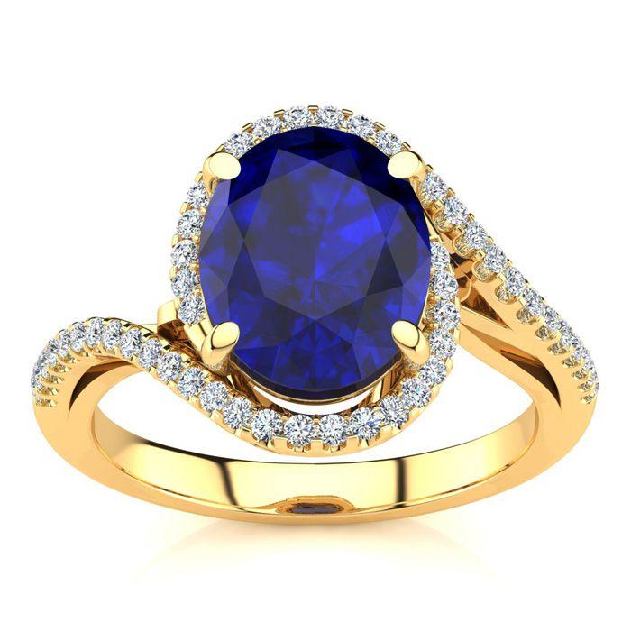 3 1/3 Carat Oval Shape Sapphire & Halo Diamond Ring in 14K Yellow Gold (4.7 g), I/J by SuperJeweler