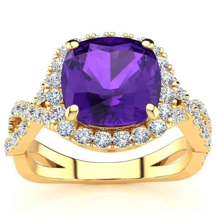 2.5 Carat Cushion Cut Amethyst & Halo Diamond Ring w/ Fancy Band