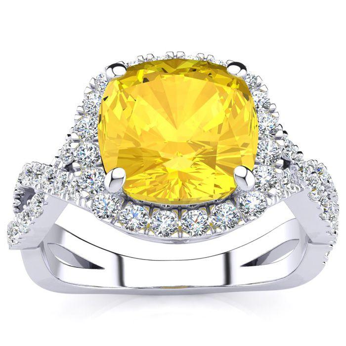 2.5 Carat Cushion Cut Citrine & Halo Diamond Ring w/ Fancy Band i