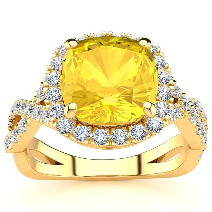 2.5 Carat Cushion Cut Citrine & Halo Diamond Ring w/ Fancy Band i