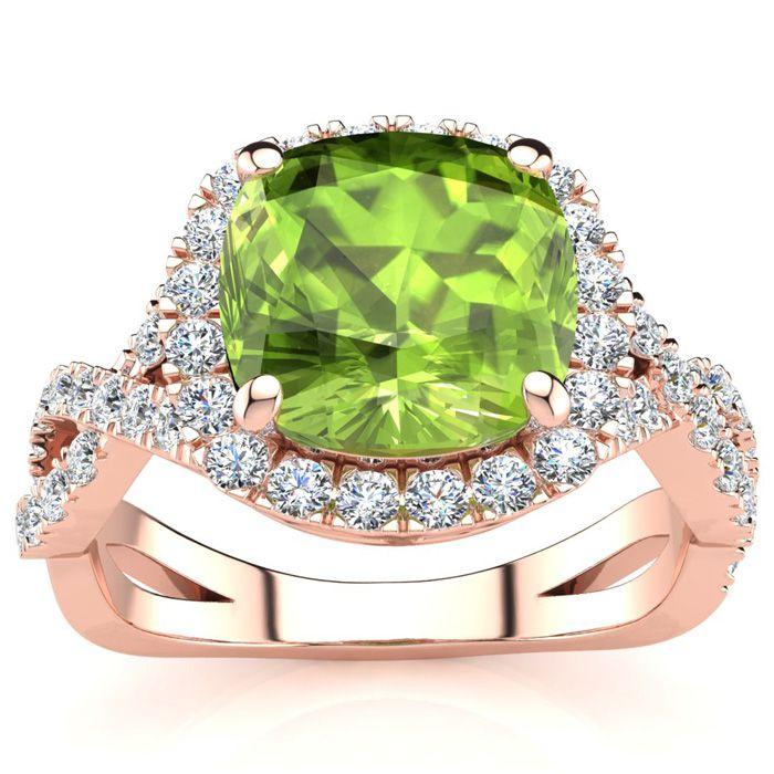 3 Carat Cushion Cut Peridot & Halo Diamond Ring w/ Fancy Band in