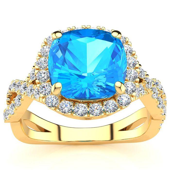 3 Carat Cushion Cut Blue Topaz & Halo Diamond Ring w/ Fancy Band