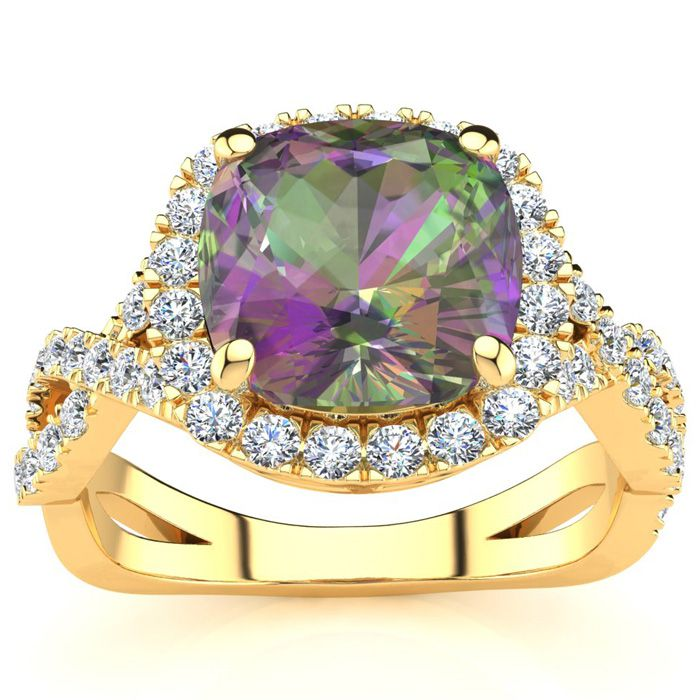 2.5 Carat Cushion Cut Mystic Topaz & Halo Diamond Ring w/ Fancy Band in 14K Yellow Gold (4 g), I/J by SuperJeweler