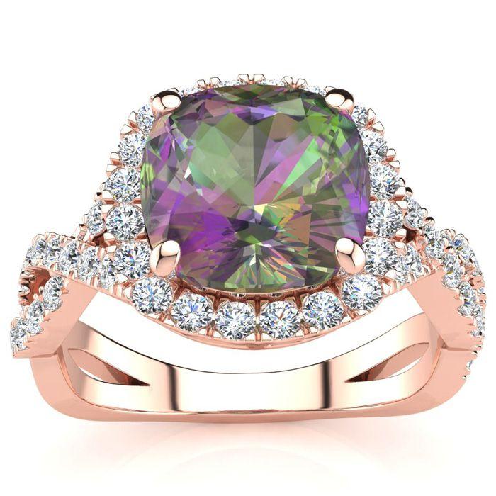 2.5 Carat Cushion Cut Mystic Topaz & Halo Diamond Ring w/ Fancy B
