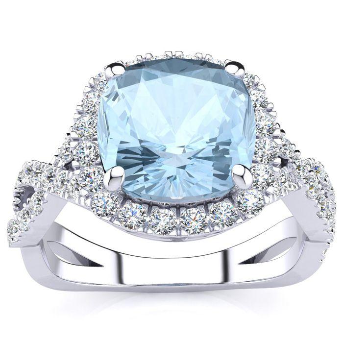 2.5 Carat Cushion Cut Aquamarine & Halo Diamond Ring w/ Fancy Ban