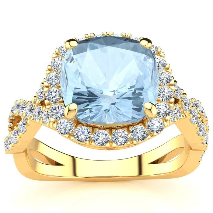 2.5 Carat Cushion Cut Aquamarine & Halo Diamond Ring w/ Fancy Ban