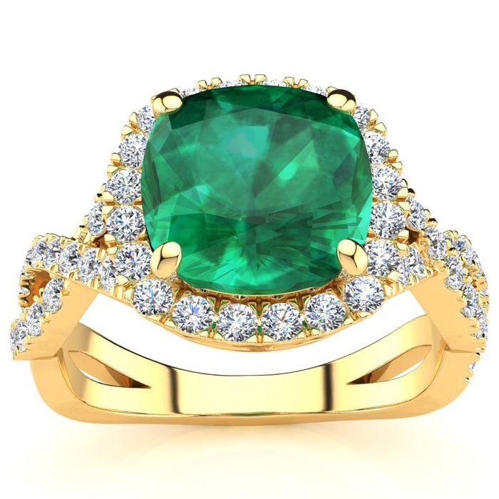 2.5 Carat Cushion Cut Emerald & Halo Diamond Ring w/ Fancy Band i