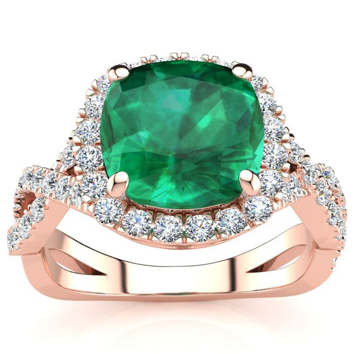 2 1/2 Carat Cushion Cut Emerald and Halo Diamond Ring With Fancy Band In 14 ..
