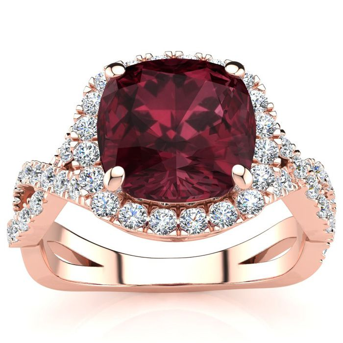 3 3/4 Carat Cushion Cut Garnet & Halo Diamond Ring w/ Fancy Band in 14K Rose Gold (4 g), I/J by SuperJeweler