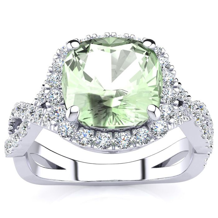 2.5 Carat Cushion Cut Green Amethyst & Halo Diamond Ring w/ Fancy
